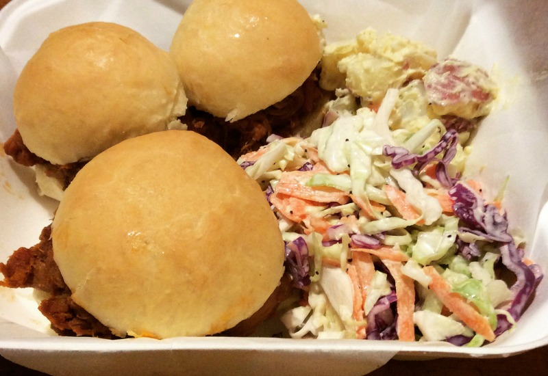 Pulled Pork Sliders with cole slaw and potato salad.